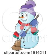 Clipart Of A Happy Snowman Sweeping Royalty Free Vector Illustration by visekart