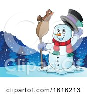Clipart Of A Snowman Tipping His Hat And Standing With A Bird On A Broom Royalty Free Vector Illustration