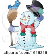 Clipart Of A Snowman Tipping His Hat And Standing With A Blue Bird On A Broom Royalty Free Vector Illustration by visekart