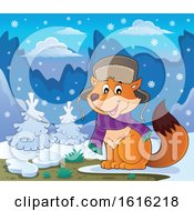 Clipart Of A Cute Fox Wearing A Winter Hat And Scarf In The Snow Royalty Free Vector Illustration