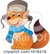Cute Fox Wearing A Winter Hat And Scarf
