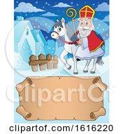 Poster, Art Print Of Horseback Saint Nicholas Over A Scroll