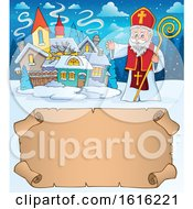 Waving Saint Nicholas Over A Scroll