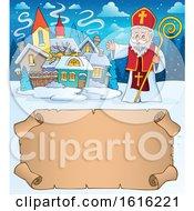 Poster, Art Print Of Waving Saint Nicholas Over A Scroll