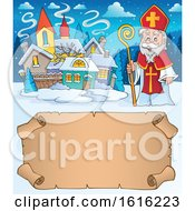 Poster, Art Print Of Parchment Scroll And Saint Nicholas