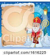 Poster, Art Print Of Parchment Scroll And Waving Saint Nicholas