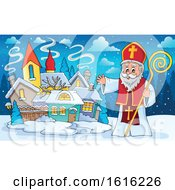 Clipart Of A Waving Saint Nicholas Royalty Free Vector Illustration