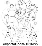 Lineart Waving Saint Nicholas