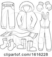 Clipart Of Lineart Winter Clothes And Accessories Royalty Free Vector Illustration by visekart