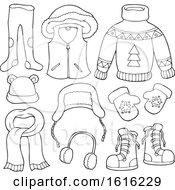 Poster, Art Print Of Lineart Winter Clothes And Accessories