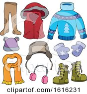 Clipart Of Winter Clothes And Accessories Royalty Free Vector Illustration