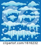 Clipart Of Snow Design Elements On Blue Royalty Free Vector Illustration