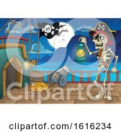 Clipart Of A Pirate Skeleton On A Ship Deck Royalty Free Vector Illustration by visekart