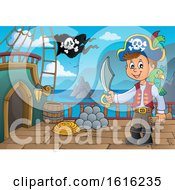 Clipart Of A Pirate Boy On A Ship Deck Royalty Free Vector Illustration by visekart