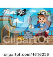 Clipart Of A Pirate Girl Captain On A Ship Deck Royalty Free Vector Illustration by visekart
