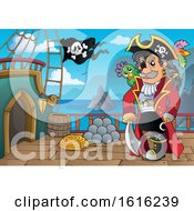 Clipart Of A Pirate Captain On A Ship Deck Royalty Free Vector Illustration