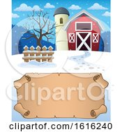 Clipart Of A Winter Barn And Silo Over A Parchment Scroll Royalty Free Vector Illustration