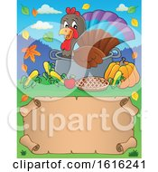 Clipart Of A Border Of A Turkey Bird In A Pot Royalty Free Vector Illustration