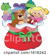 Clipart Of A Doll Teddy Bear Toys And Gifts In Santas Christmas Sack Royalty Free Vector Illustration