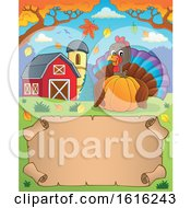 Clipart Of A Scroll With A Turkey Holding A Pumpkin In A Barnyard Royalty Free Vector Illustration