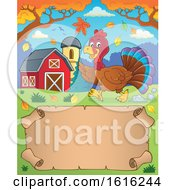 Clipart Of A Scroll With A Turkey Running In A Barnyard Royalty Free Vector Illustration