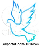 Clipart Of A Gradient Flying Dove Royalty Free Vector Illustration