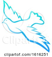 Clipart Of A Gradient Flying Dove Royalty Free Vector Illustration by Vector Tradition SM