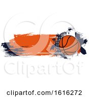 Clipart Of A Grungy Basketball Design Royalty Free Vector Illustration
