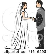 Clipart Of A Wedding Couple Royalty Free Vector Illustration