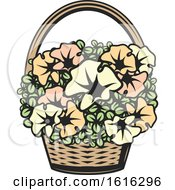 Clipart Of A Basket Of Flowers Royalty Free Vector Illustration