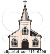 Clipart Of A Church Royalty Free Vector Illustration