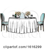 Clipart Of A Retro Table With Flowers And A Wedding Cake Royalty Free Vector Illustration