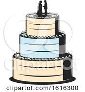 Cream And Blue Wedding Cake