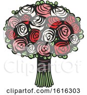 Clipart Of A Rose Wedding Bouquet Royalty Free Vector Illustration by Vector Tradition SM