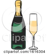 Clipart Of A Bottle And Glass Of Champagne Royalty Free Vector Illustration