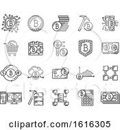 Clipart Of Black And White Bitcoin Icons Royalty Free Vector Illustration