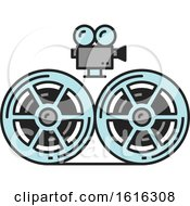 Clipart Of A Film Design Royalty Free Vector Illustration
