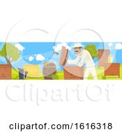 Clipart Of A Beekeeper Banner Royalty Free Vector Illustration