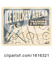 Clipart Of A Retro Ice Hockey Arena Design Royalty Free Vector Illustration
