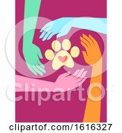 Poster, Art Print Of Hands Animal Welfare Charity Illustration