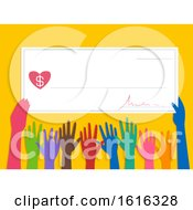 Poster, Art Print Of Hands Cheque Donate Illustration