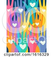 Poster, Art Print Of Hands Colorful Volunteers Illustration