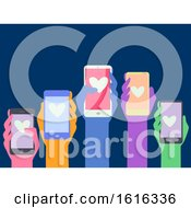 Poster, Art Print Of Hands Cellphone Concern Citizens Illustration