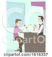 Man Drink Bartender Beer Illustration