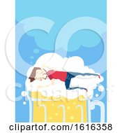 Man Drunk Beer Bubbles Sleep Dream Illustration