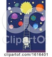 Poster, Art Print Of Kid Astronaut Ladder Space Planet Illustration