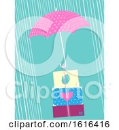 Umbrella Box Relief Typhoon Illustration