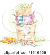 Laundry Basket Stack Illustration