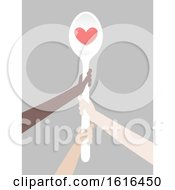 Hands Spoon Global Poverty Illustration