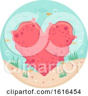 Poster, Art Print Of Coral Heart Underwater Illustration